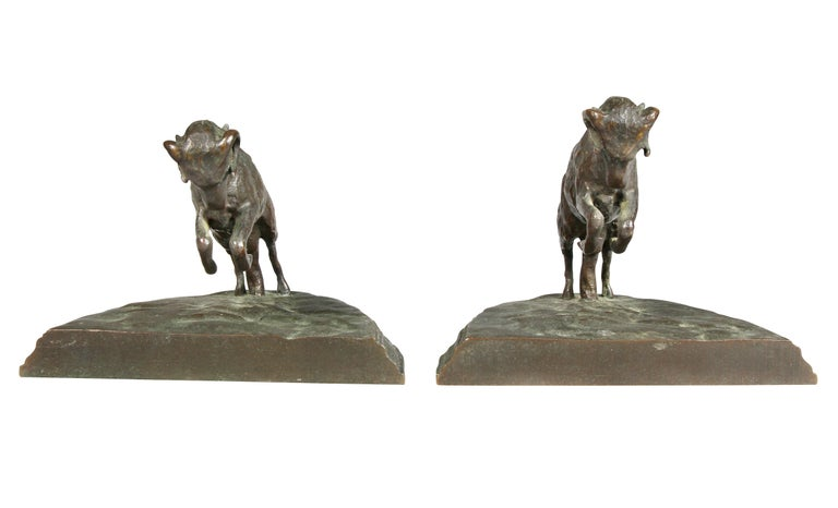 Pair of Bronze Ram Form Bookends For Sale 2