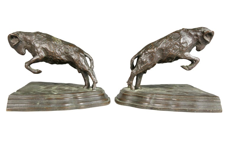 Pair of Bronze Ram Form Bookends For Sale 3