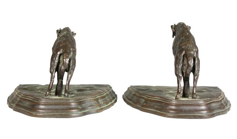 Pair of Bronze Ram Form Bookends For Sale 4