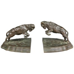 Pair of Bronze Ram Form Bookends