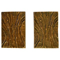 Pair of Bronze Rectangular Push and Pull Door Handles with Curved Relief