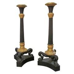 Pair of Bronze Regency Candlesticks