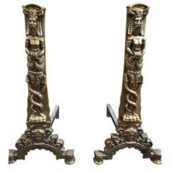Pair of Bronze Renaissance Style Chenets, circa 1850