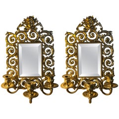 Pair of Bronze Rococo Three-Arm Mirror Wall Sconces