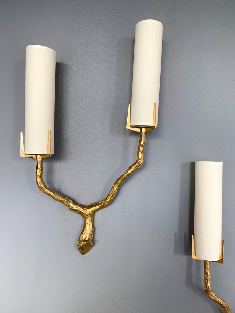Pair of Bronze Sconces by Maison Arlus, France, 1960s For Sale 4