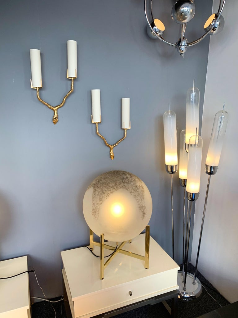 Pair of Bronze Sconces by Maison Arlus, France, 1960s For Sale 5