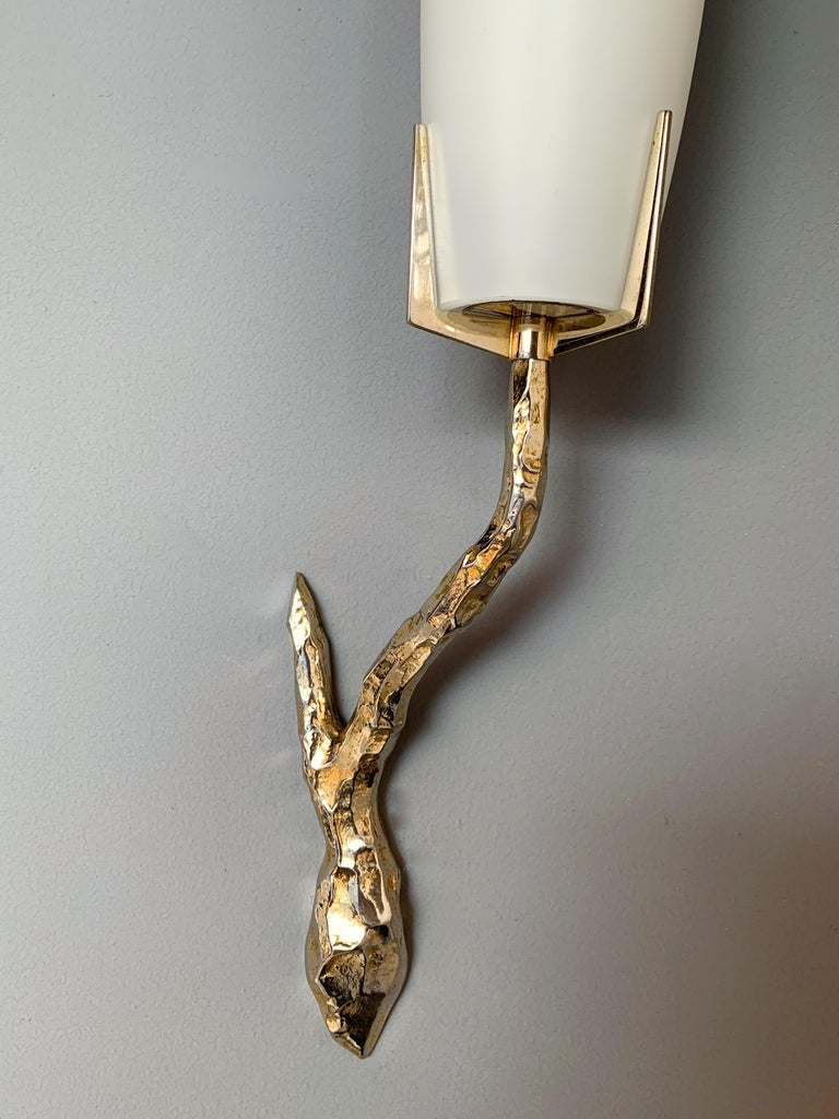 French Pair of Bronze Sconces by Maison Arlus, France, 1960s For Sale