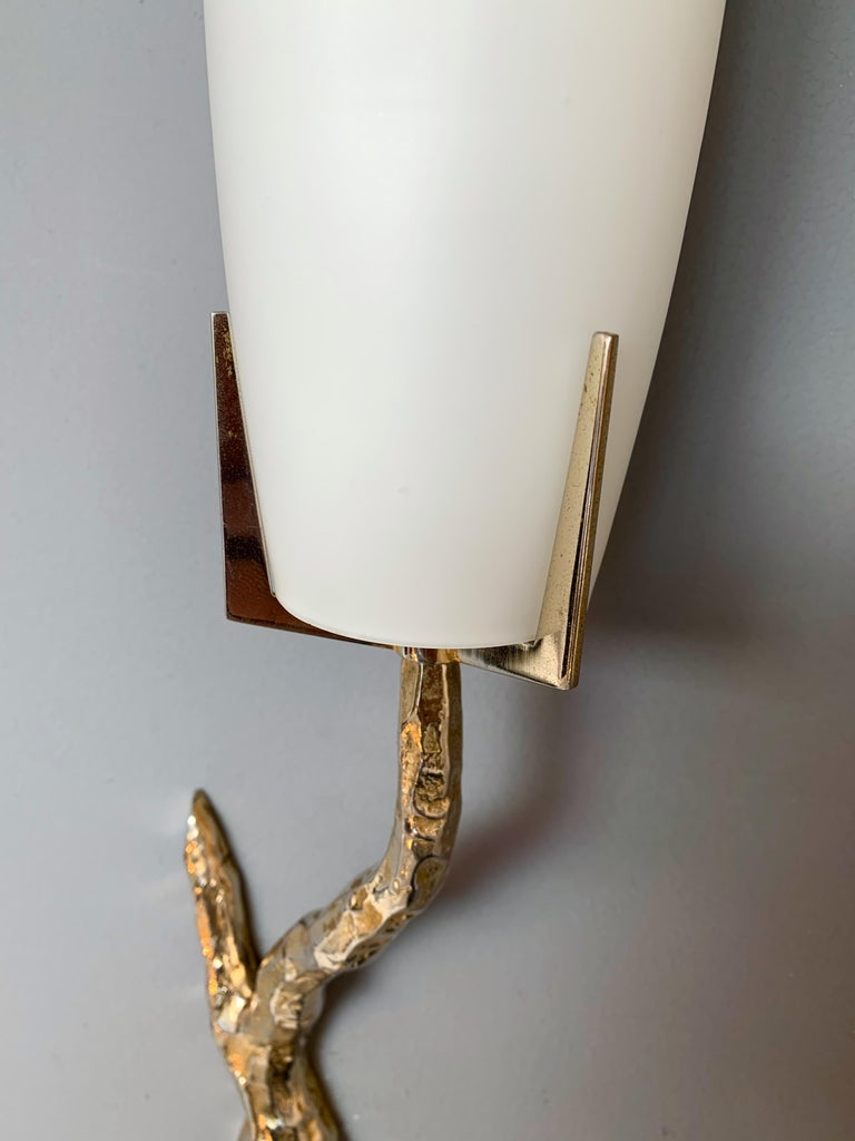 Pair of Bronze Sconces by Maison Arlus, France, 1960s In Excellent Condition For Sale In SAINT-OUEN, FR