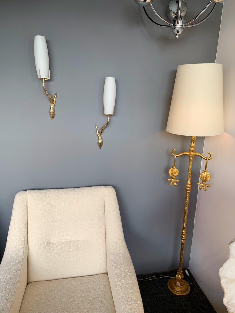Opaline Glass Pair of Bronze Sconces by Maison Arlus, France, 1960s For Sale
