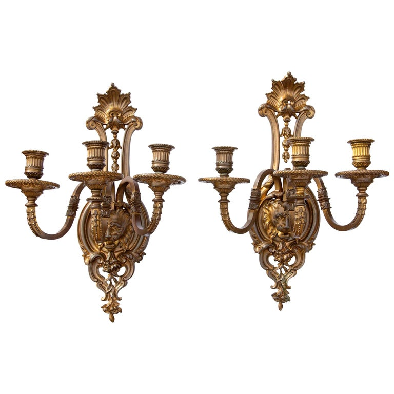Pair of Bronze Sconces For Sale