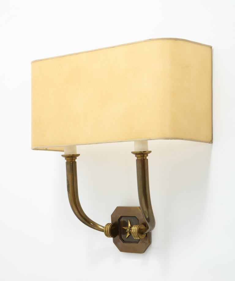 Mid-Century Modern Pair of Bronze Sconces, France, 1940 For Sale