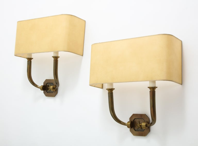 French Pair of Bronze Sconces, France, 1940 For Sale