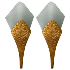 Pair of Bronze Sconces Nefertiti by Maison Charles, France, 1970s