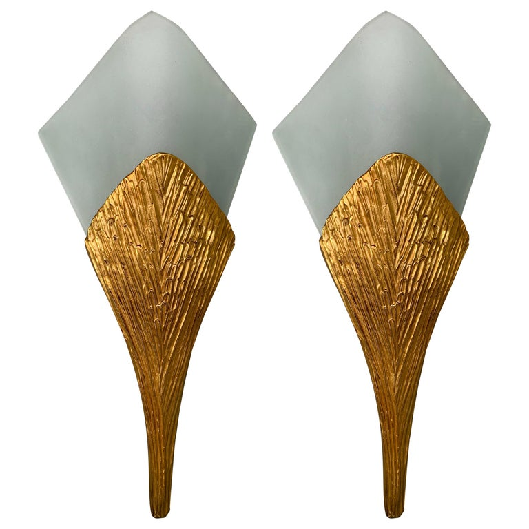 Pair of Bronze Sconces Nefertiti by Maison Charles, France, 1970s For Sale