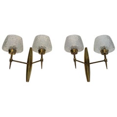 Pair of Bronze Sconces with Worked Glass Reflectors, Italian, circa 1960