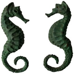 Pair of Bronze Seahorse Door Handle