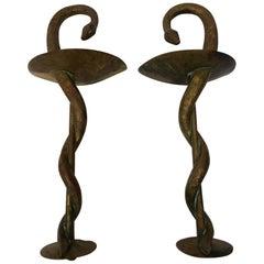 Pair of Bronze Snake Door Handles