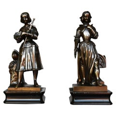 Pair of Bronze Statuette Representing Jeanne D'arc, circa 1900