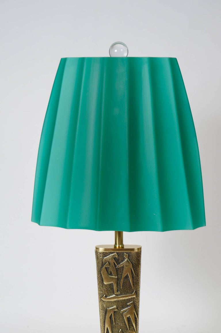 French Pair of Bronze Table Lamps by Angelo Brotto For Sale