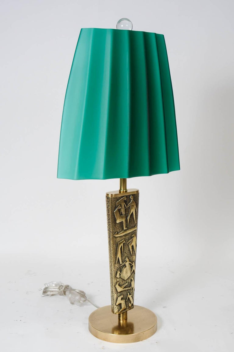 Mid-20th Century Pair of Bronze Table Lamps by Angelo Brotto For Sale