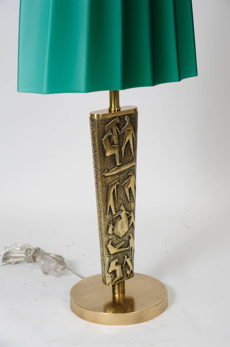 Pair of Bronze Table Lamps by Angelo Brotto For Sale 1