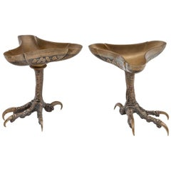 Pair of Bronze Talon Dishes