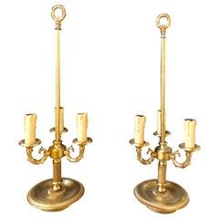 Pair of Bronze Three-Arm Bouiliotte Lamps