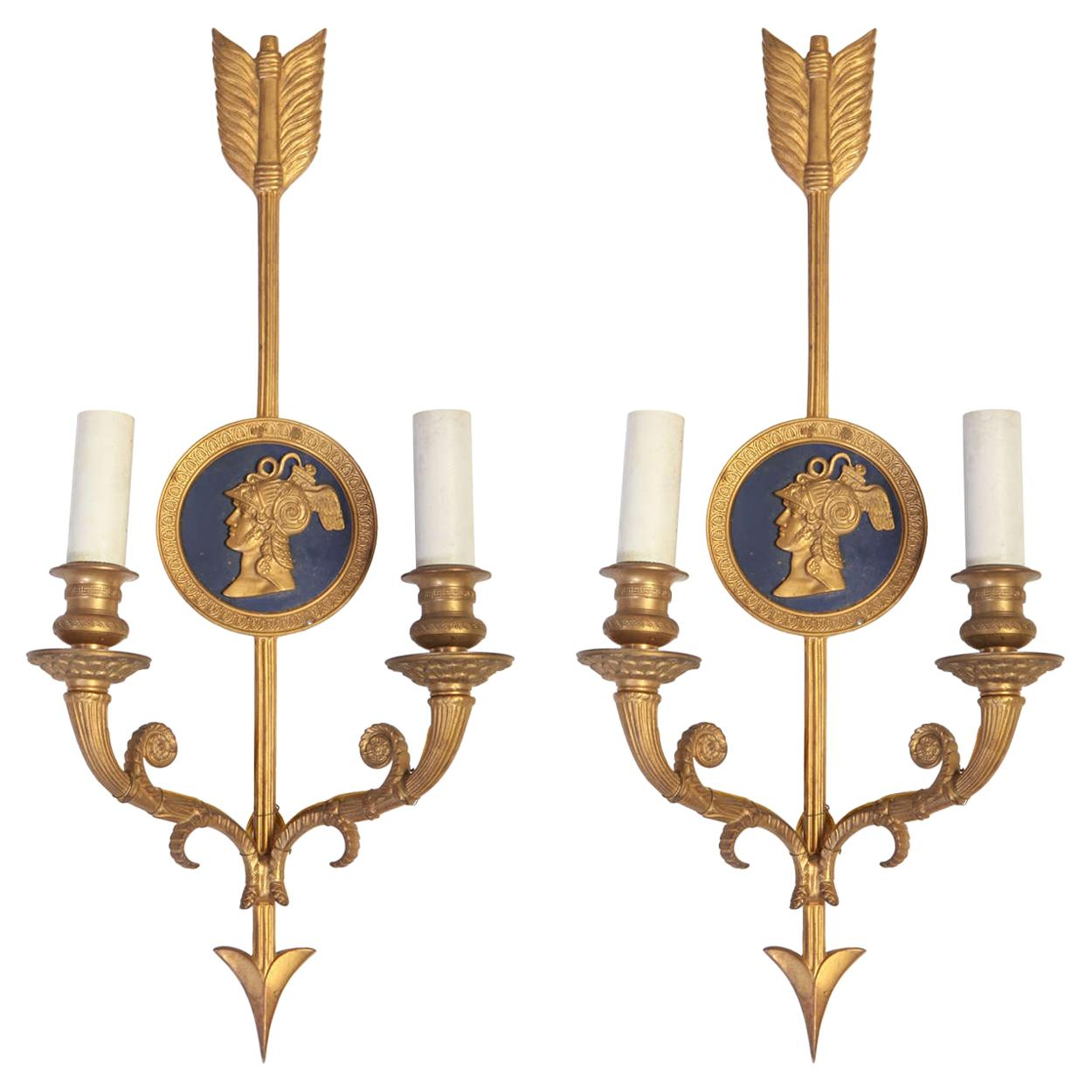 Pair of Bronze Two-Light Neoclassical Wall Sconces
