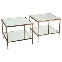 Pair of Bronze Two-Tier Side Tables Attributed to Maison Jansen