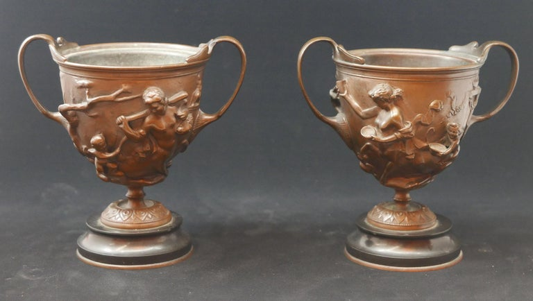Neoclassical Pair of Bronze Urns Cast by Barbedienne and Attributed to Ferdiand Levillain For Sale