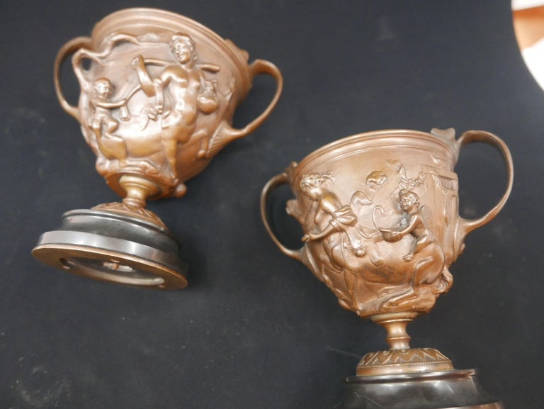 Late 19th Century Pair of Bronze Urns Cast by Barbedienne and Attributed to Ferdiand Levillain For Sale