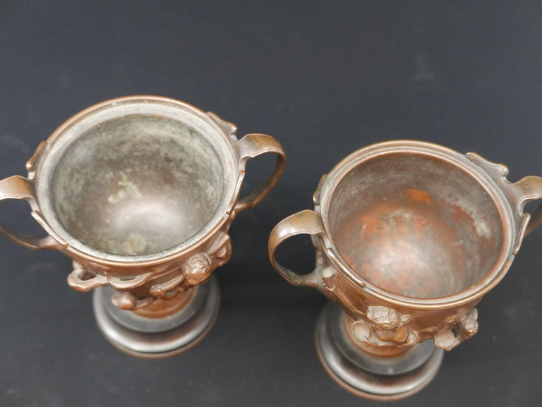 Pair of Bronze Urns Cast by Barbedienne and Attributed to Ferdiand Levillain For Sale 1
