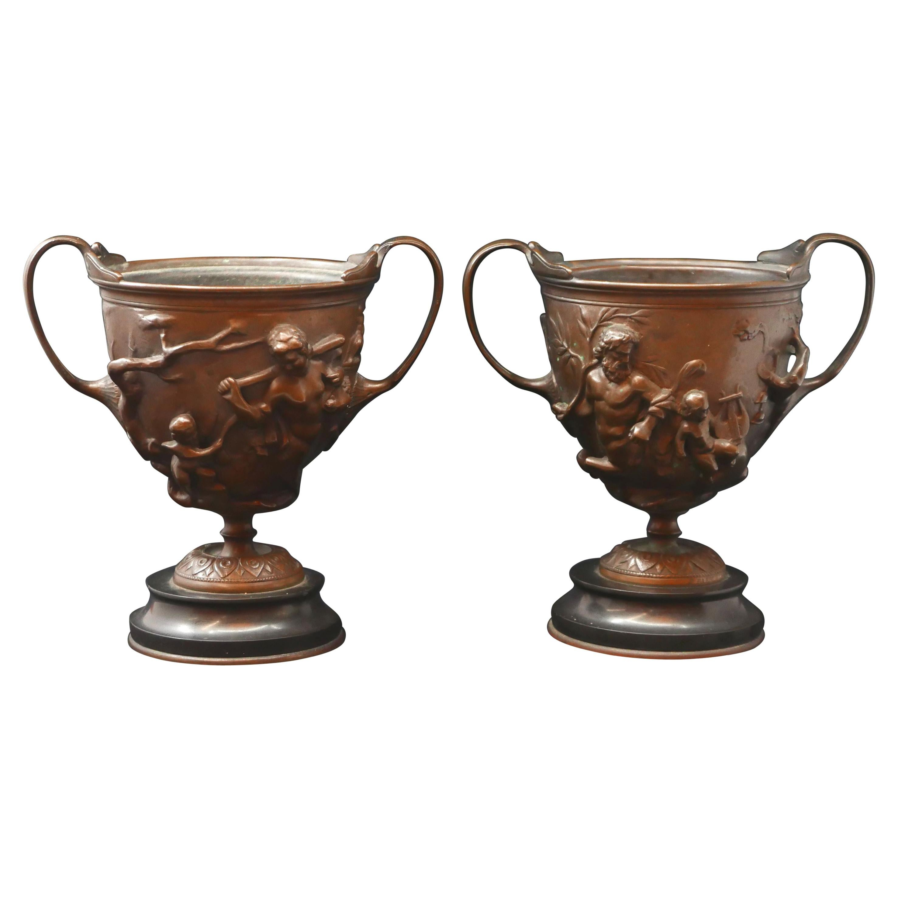 Pair of Bronze Urns Cast by Barbedienne and Attributed to Ferdiand Levillain