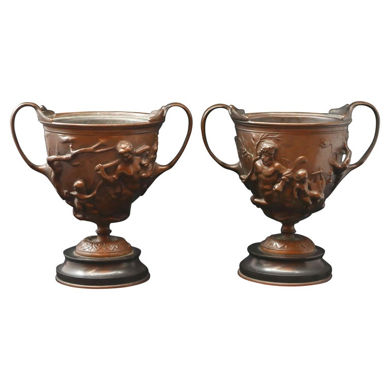 Pair of Bronze Urns Cast by Barbedienne and Attributed to Ferdiand Levillain For Sale