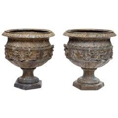 Pair of Bronze Verde Urns
