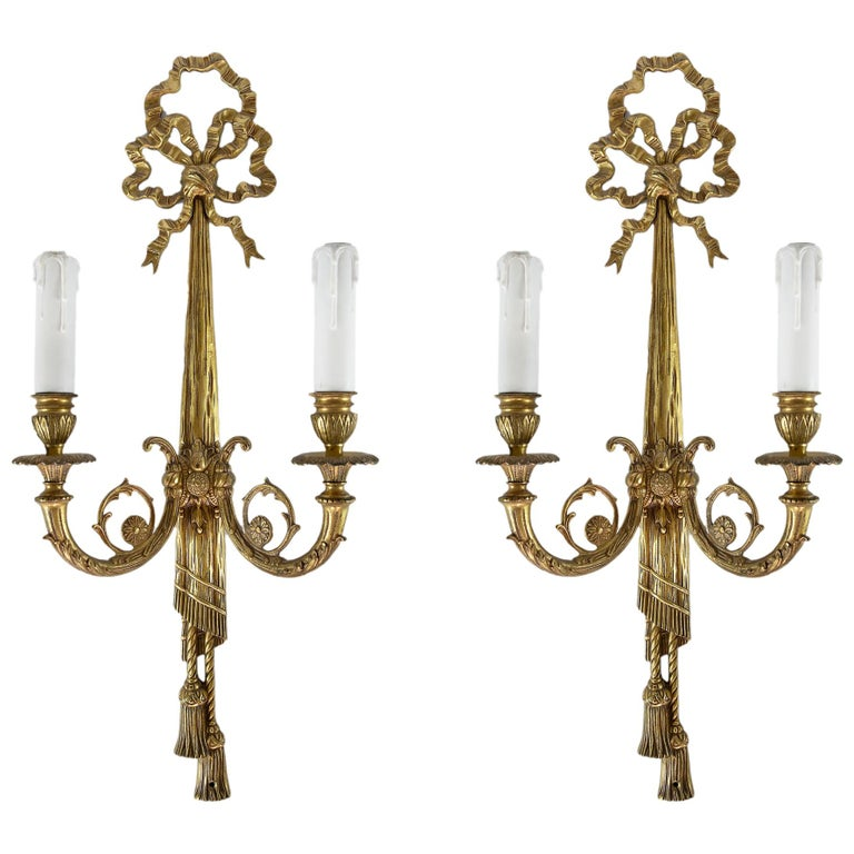 Pair of Bronze Wall Light Sconces For Sale