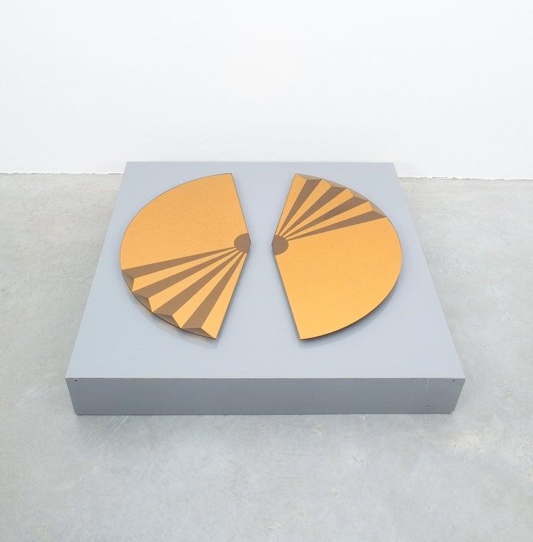 Italian Pair of Bronze Wall Mirrors Trompe l'oeil, circa 1970, Italy For Sale