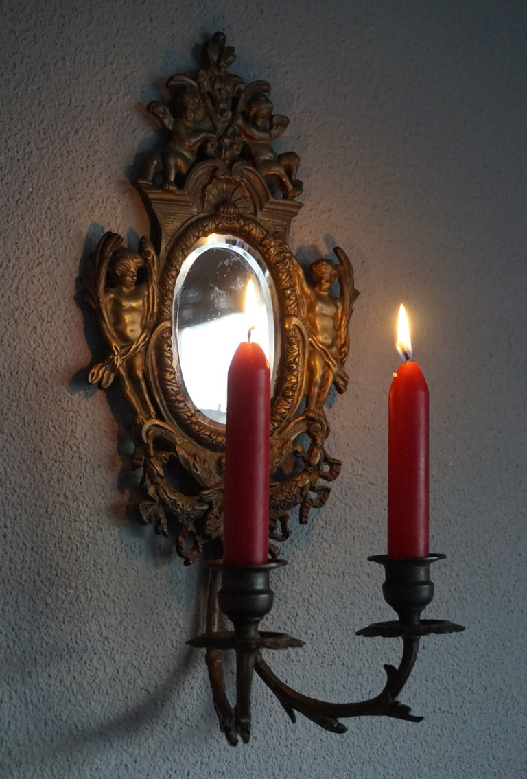 Antique Pair of Bronze Wall Sconce Candelabras w. Mirrors, Angels & Medusa Masks For Sale 1