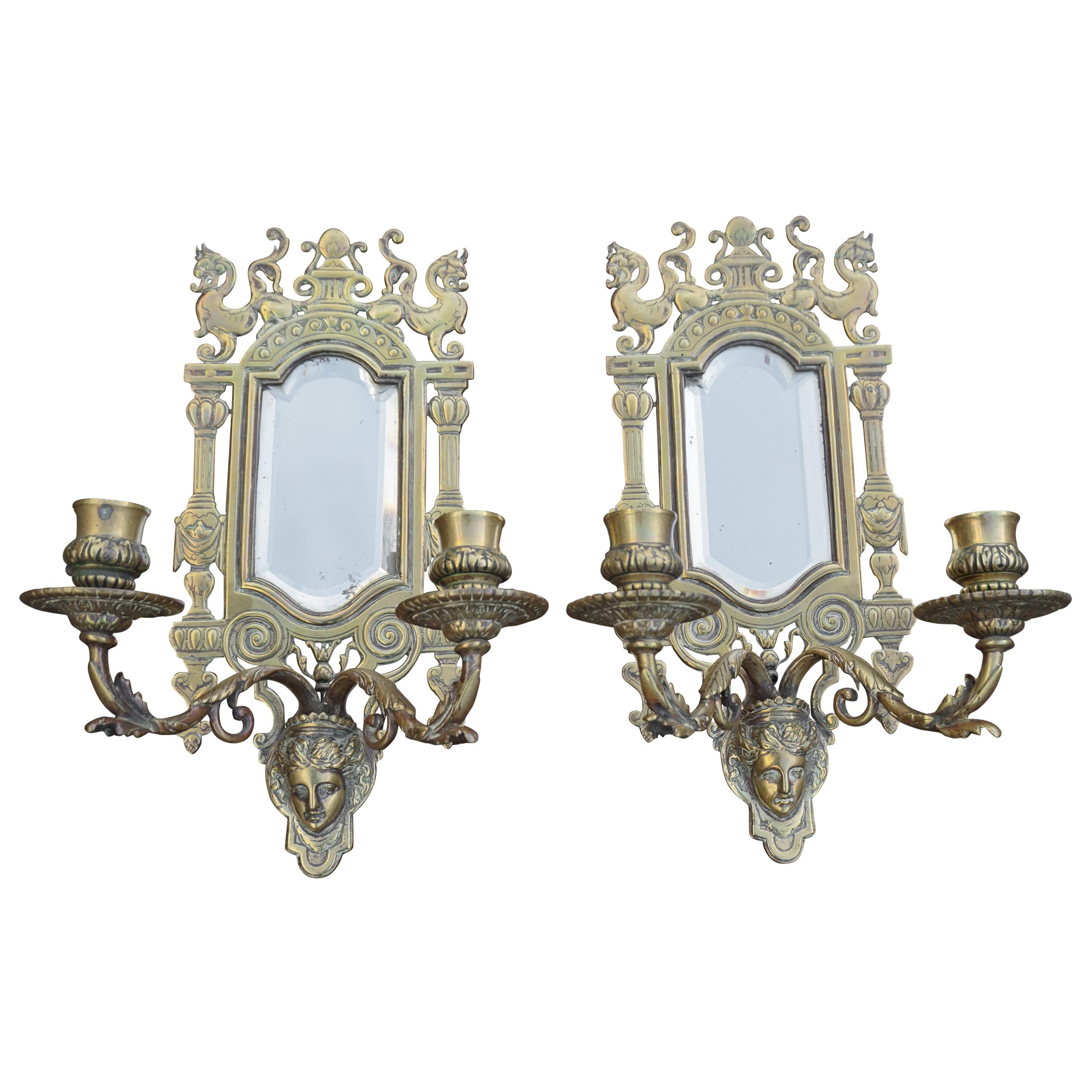 Pair of Bronze Wall Sconce Candleholders with Mirrors & Griffins and More