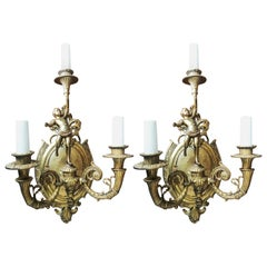 Pair of Bronze Wall Sconces French Empire Style