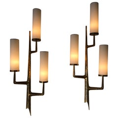 Pair of Bronze Wall Sconces with Three-Light Arms by Maison Arlus, 1950