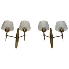 Pair of Bronze wall Sconces with Worked Glass Reflectors, Italian, circa 1960