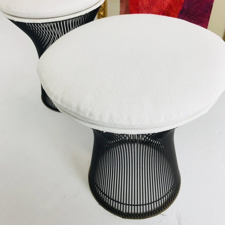 Mid-Century Modern Pair of Bronze Warren Platner Stools For Sale