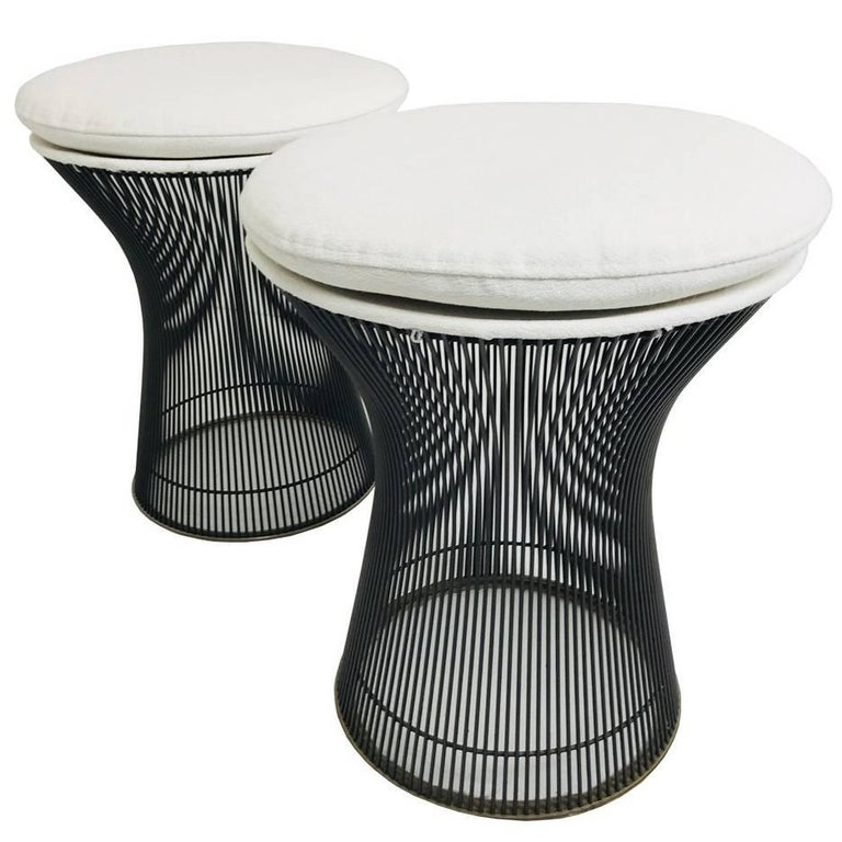 Pair of Bronze Warren Platner Stools For Sale