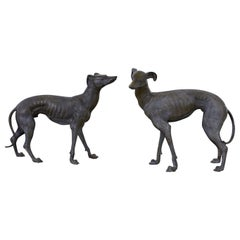 Pair of Bronze Whippets or Greyhound Dog Sculptures