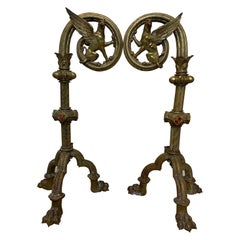 Pair of Bronze Wing Griffin Andirons with Enameled Coat of Arms