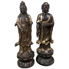 Pair of Bronze with Gilding Standing Figures