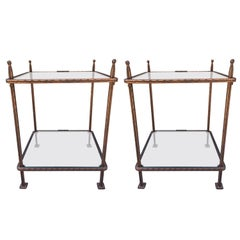 Pair of Bronzed Iron Side Tables by Claudio Rayes