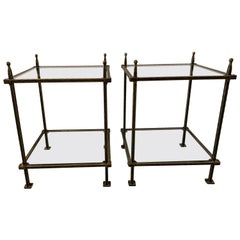 Pair of Bronzed Iron Two Tiered Tables by Claudio Rayes