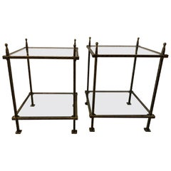 Pair of Bronzed Iron Two-Tiered Tables by Claudio Rayes